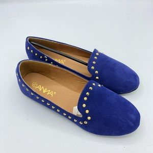 Anna | Blue Suede Rock Stud Slip On Flats 7.5
